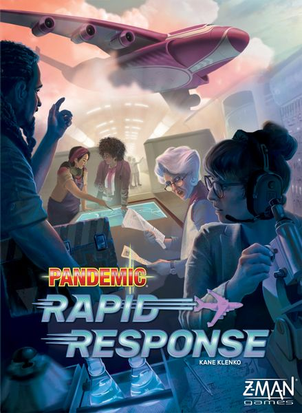 Pandemic Rapid Response cover, shows a team of multi-cultural scientists working over a blueprint while a plane flies above.