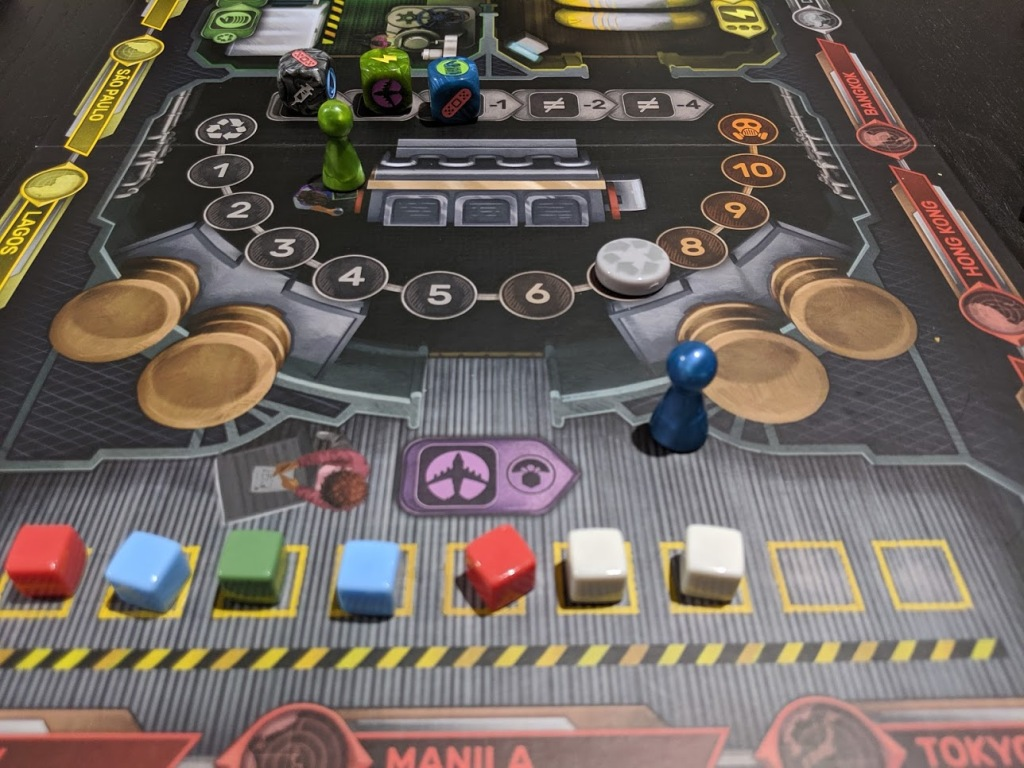The recycling plant in Pandemic Rapid Response. Waste cubes are filling up the available spots.