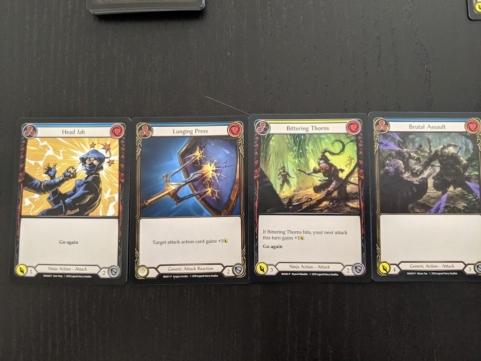Flesh and Blood cards showing the various costs and abilities.