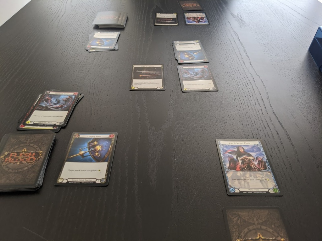 What the table looks like when you're mid-game in Flesh and Blood.