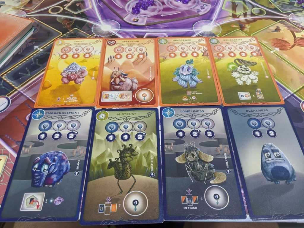 Some cards from Cerebria the Inside World. Shows the character art which is a mix between Pokemon and Inside Out.
