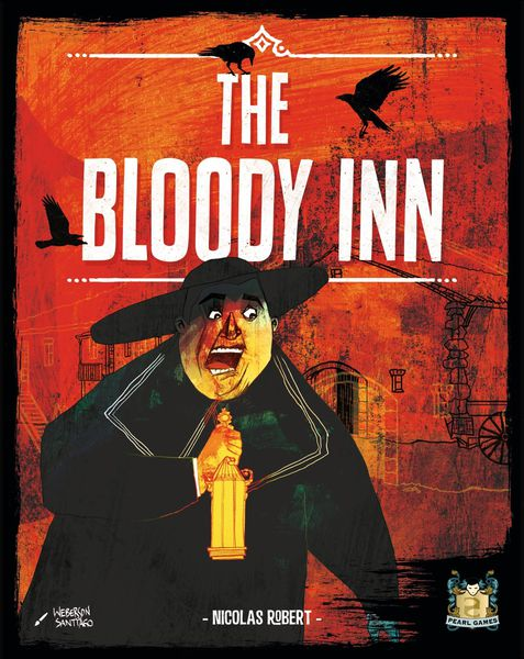 The Bloody Inn box art shows a man from an earlier time period holding an oil lamp. His face shows pure terror.