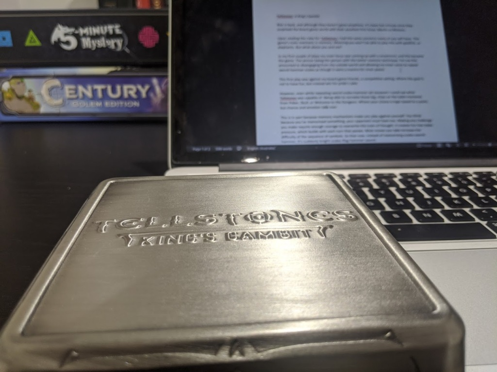 The metal box Tellstones King's Gambit comes in. It's quite small.