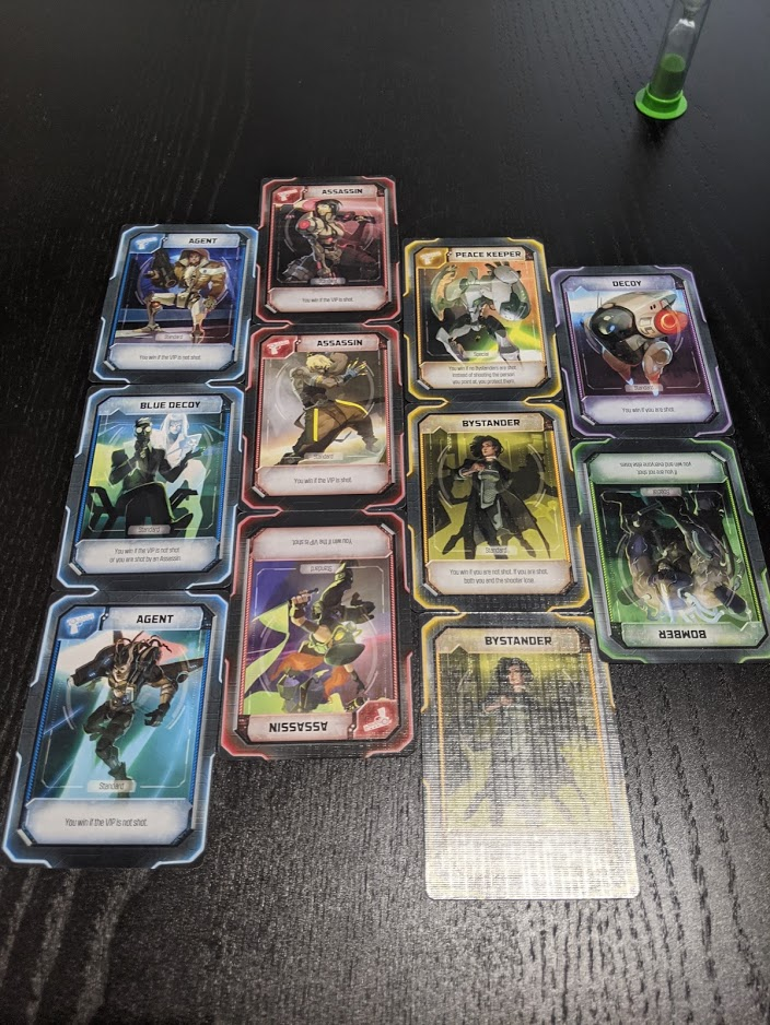 All of the role cards patterned together like bricks.