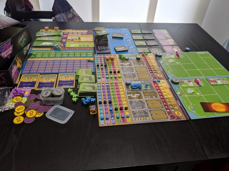 Dinosaur Island all set up for a two player game.