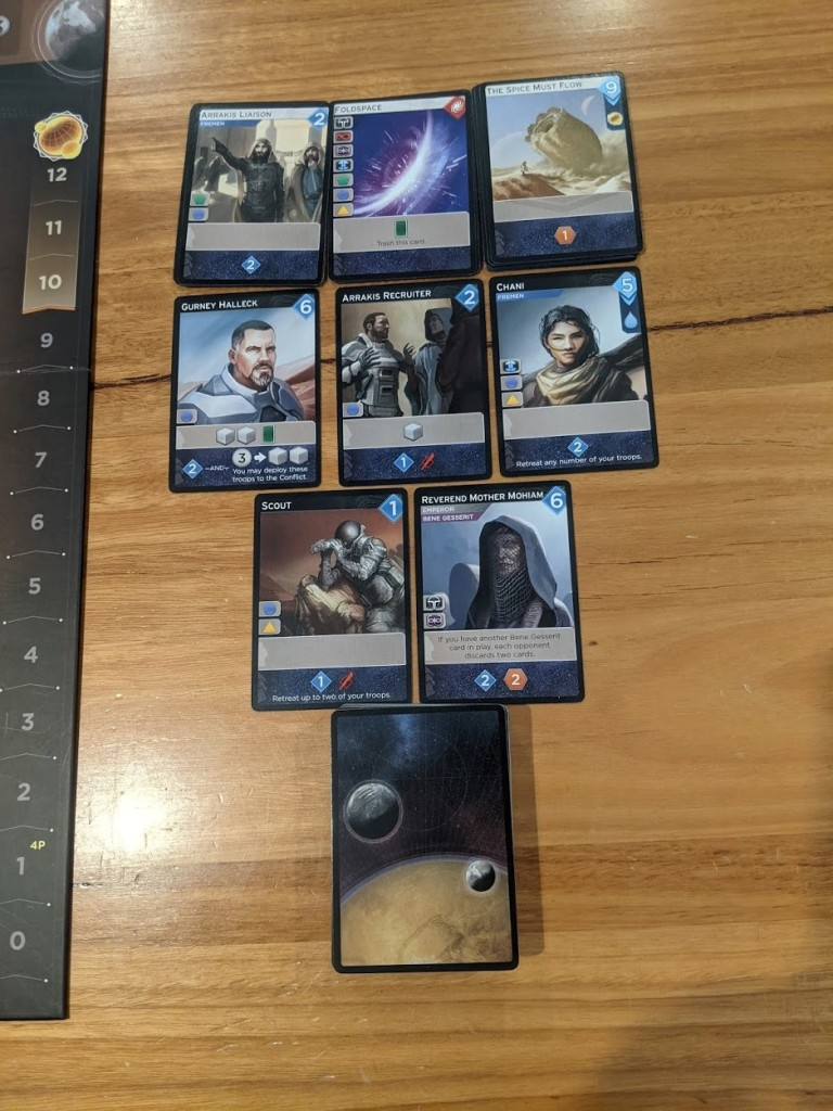 Examples of cards in the market in Dune: Imperium.