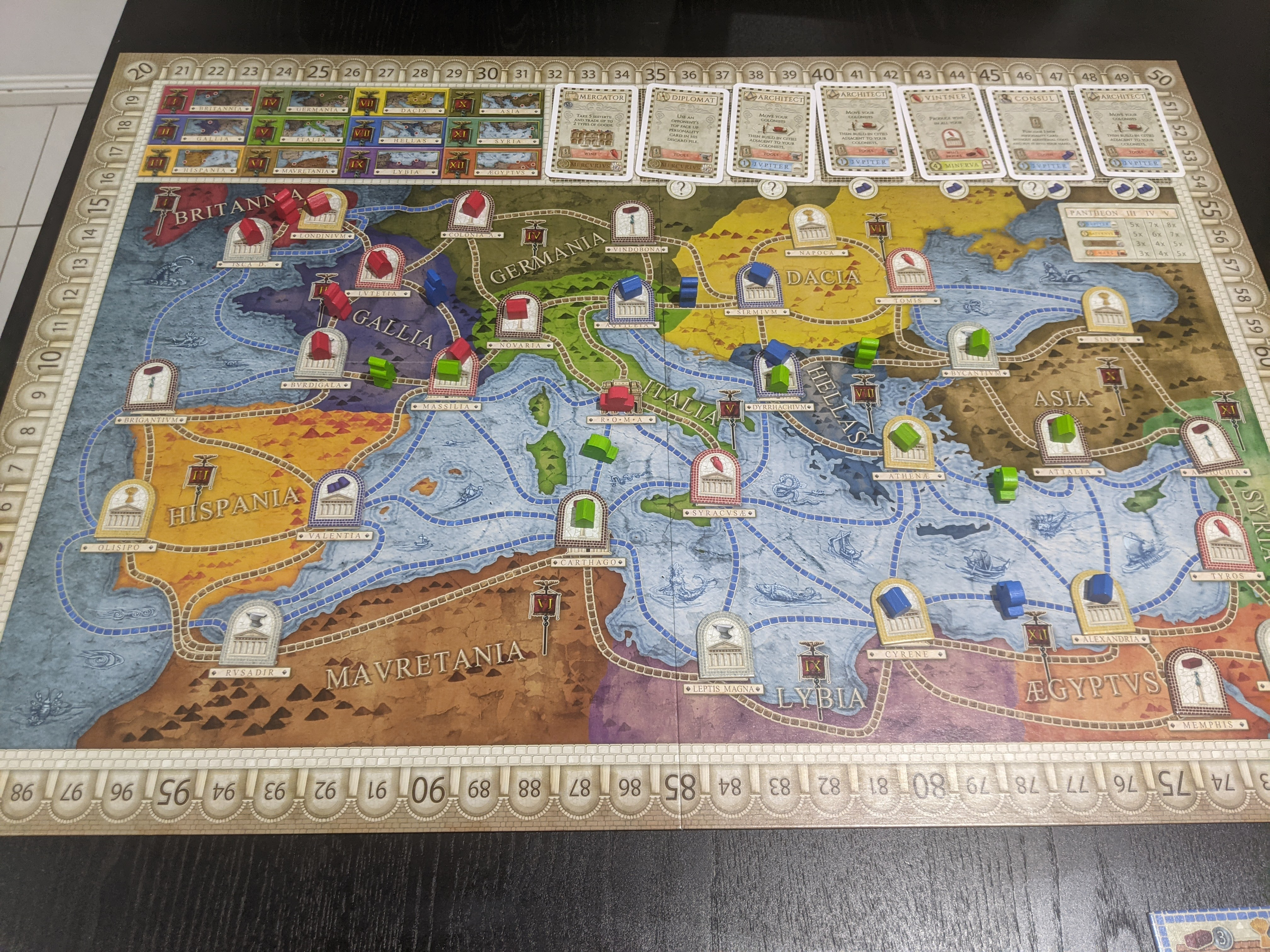 Concordia during the game, it's a map of Mesopotamia with blue, green, and red cities sprinkled across the board.