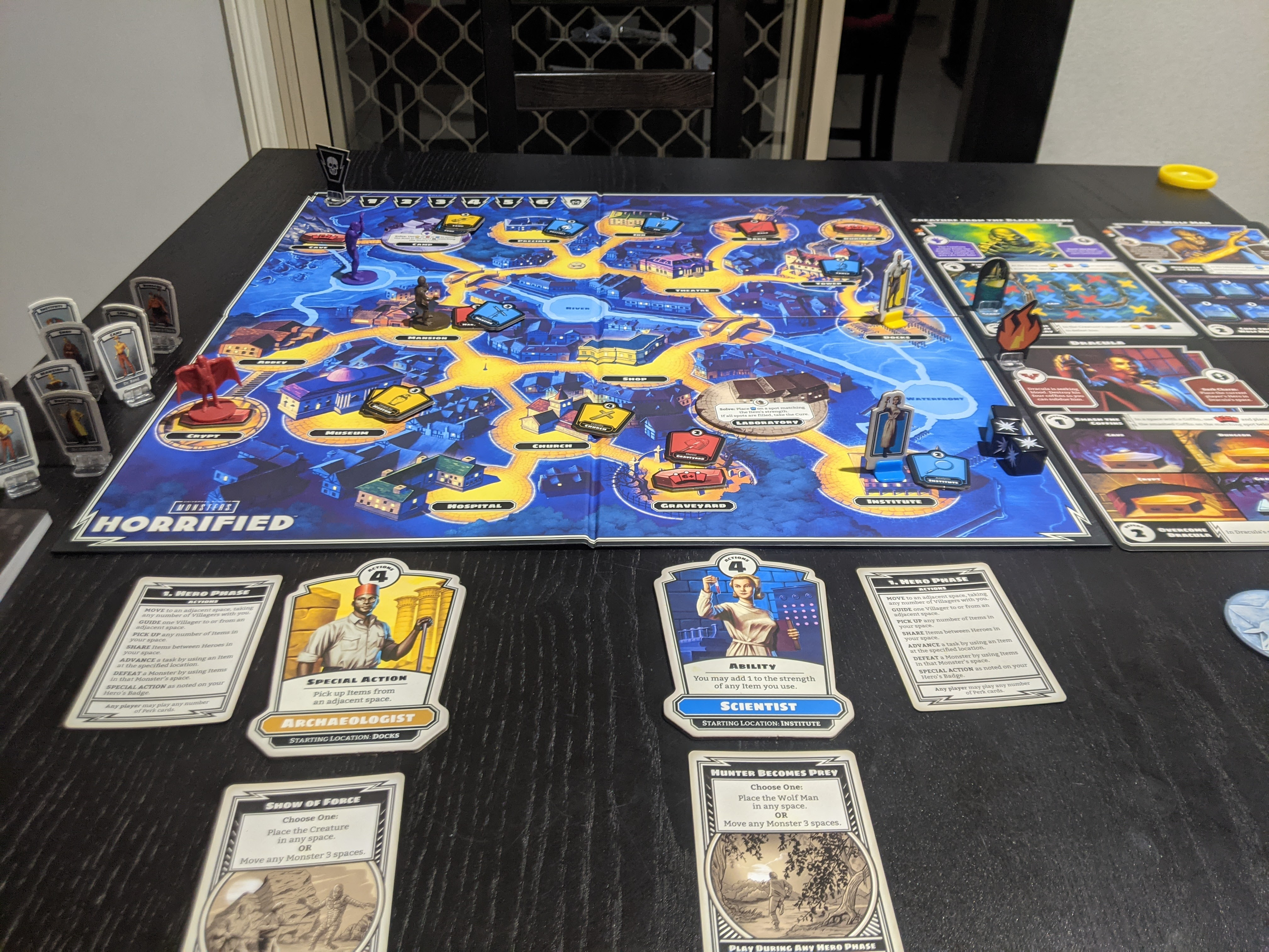 Horrified in the middle of play, The Wolfman, Dracula, and The Creature of the Black Lagoon stalk the town for victims.