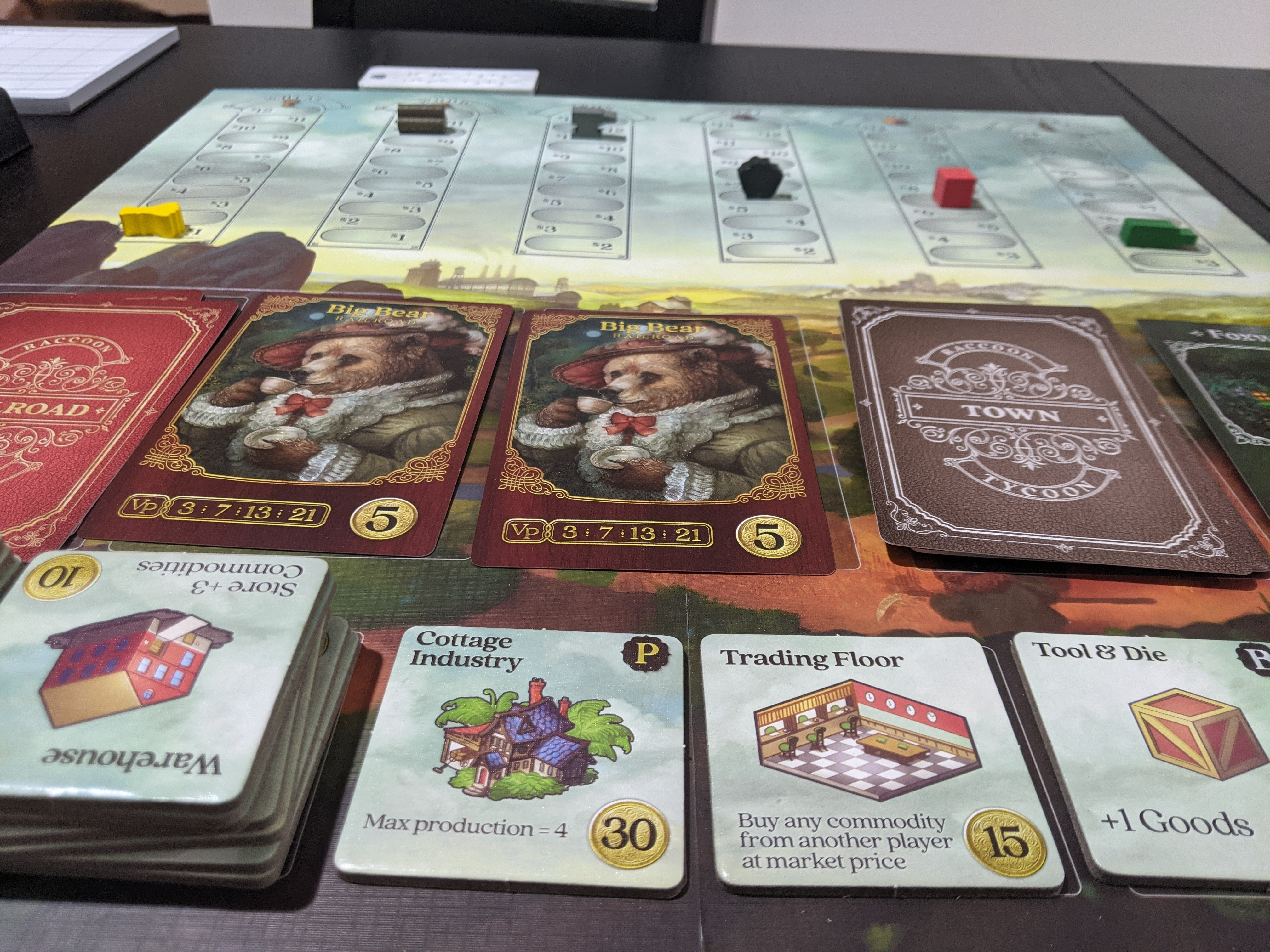 Shows the Raccoon Tycoon market board. With the buildings being sold being the Cottage Industry, Trading Floor, and Tool & Die.