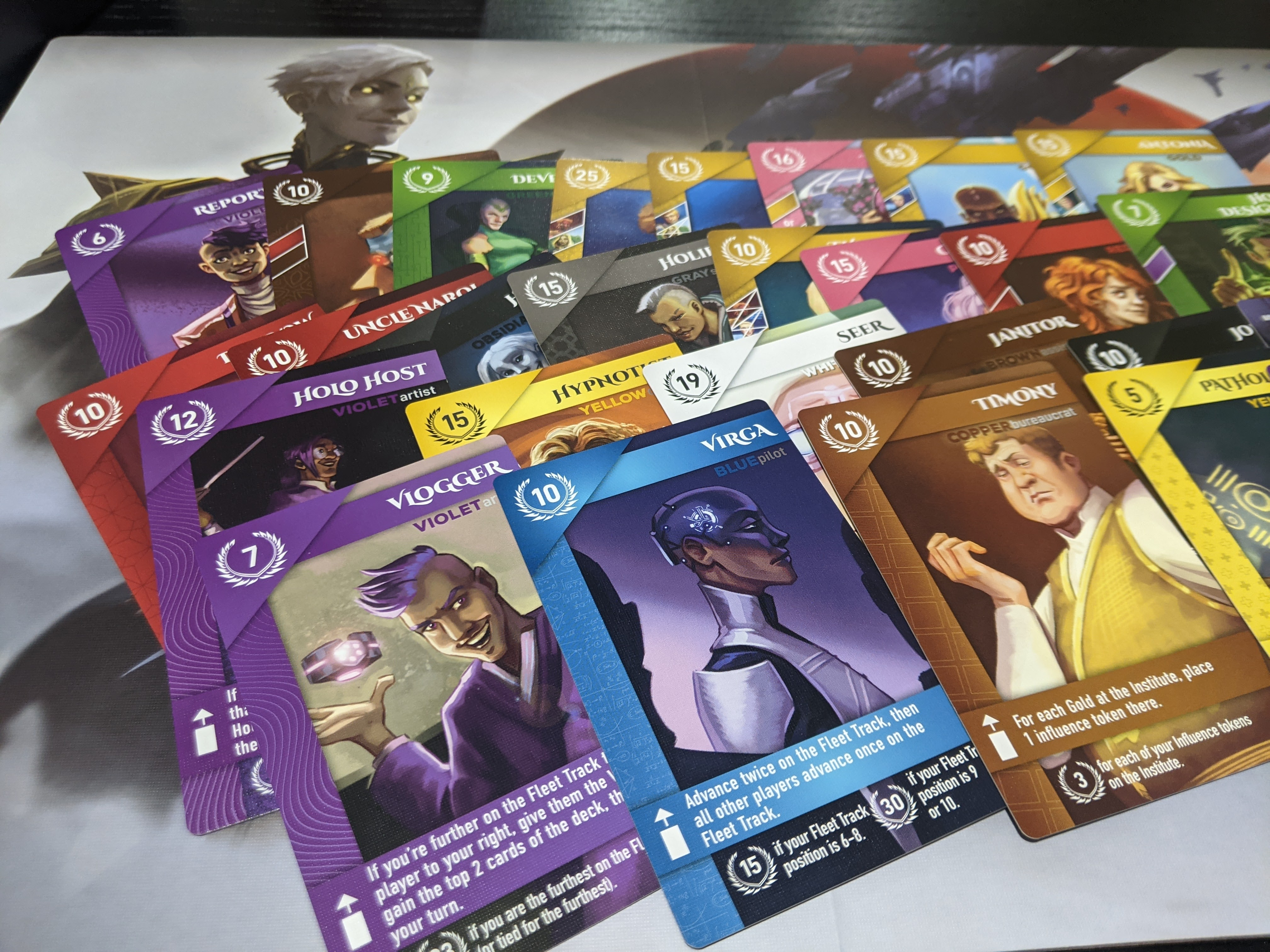 Cards from Red Rising are spread out showing the different pictures on the cards.
